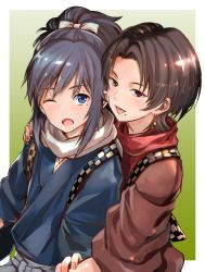 2boys :p ;o black_hair blue_eyes bow brown_hair earrings hair_bow highres japanese_clothes jewelry kashuu_kiyomitsu male_focus mole mole_under_eye mole_under_mouth multiple_boys nail_polish one_eye_closed open_mouth ponytail puca-rasu red_eyes red_nails scarf smile tongue tongue_out touken_ranbu yamato-no-kami_yasusada