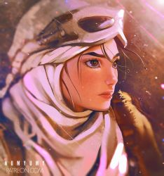 1girl artist_name blurry blush brown_eyes brown_hair closed_mouth depth_of_field goggles goggles_on_head head_scarf lens_flare looking_afar numyumy portrait realistic rey_(star_wars) scarf serious solo star_wars star_wars:_the_force_awakens sunlight sweatdrop upper_body watermark web_address white_scarf