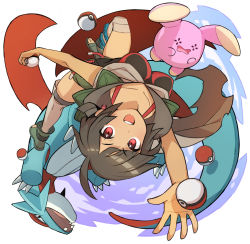 1girl ankle_boots black_hair blue_sky boots cloak grey_legwear higana_(pokemon) holding holding_poke_ball looking_at_viewer open_mouth over-kneehighs poke_ball pokemon pokemon_(game) pokemon_oras red_eyes saitou_naoki salamence short_hair short_ponytail short_shorts shorts shoulder_pads sky thighhighs toeless_boots upside-down whismur