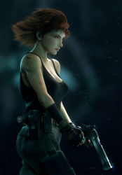 1girl black_gloves blood blood_splatter blue_eyes breasts brown_hair cargo_pants cleavage combat_knife desert_eagle eyebrows fingerless_gloves from_side gloves gun handgun highres holster knife large_breasts lips meryl_silverburgh metal_gear_(series) metal_gear_solid mismatched_gloves no_bra nose pants serious short_hair solo tank_top thigh_holster thigh_pouch trigger_discipline weapon wen_jr