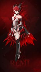 1girl absurdres artist_request bodysuit boots breasts choker detached_sleeves facial_mark highres knee_boots long_hair original pixiv_fantasia pixiv_fantasia_t red_background red_hair solo thigh_strap