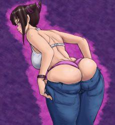 1girl ass blush bra brown_hair colored drawfag han_juri jeans leaning_forward looking_back panties pants pants_pull purple_panties red_eyes solo soubriquetrouge standing street_fighter underwear undressing