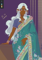 1girl blue_eyes circlet color_guide contrapposto dark_skin earrings facial_mark hyakujuu-ou_golion indian_clothes jewelry long_hair looking_away necklace pointy_ears princess_allura sari sasha_gladysh silver_hair smile voltron:_legendary_defender