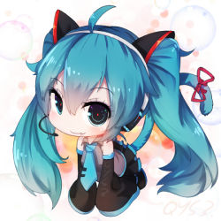 1girl :3 all_fours animal_ears bai_yemeng black_legwear blue_eyes blue_hair candy cat_ears cat_tail chibi fake_animal_ears hatsune_miku headset kemonomimi_mode lollipop long_hair long_sleeves looking_at_viewer mouth_hold ribbon shirt skirt solo tail tail_ribbon thighhighs twintails very_long_hair vocaloid wide_sleeves