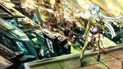 1girl anti-materiel_rifle aqua_eyes aqua_hair blue_eyes blue_hair breasts cleavage deviantart_thumbnail fingerless_gloves gloves gun hair_ornament hairclip highres imageboard_sample perspective rifle scarf shinon_(sao) short_hair shorts sniper_rifle solo sword_art_online weapon