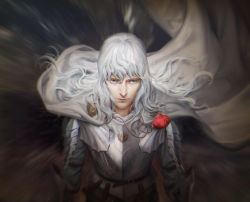 1boy armor berserk blue_eyes cape griffith highres jana_schirmer jewelry lips long_hair necklace solo white_hair