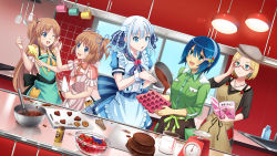 5girls :d :o ;d adjusting_glasses apron bangs beret berries blonde_hair blouse blue_dress blue_eyes blue_hair blueberry book brooch brown_hair buttons chocolate chocolate_cake chocolate_heart claudia_madobe clenched_hand colored cookie counter cup cutting_board dress dress_shirt dutch_angle food food_on_face fruit glasses green_shirt hair_ribbon hair_rings hairband hand_on_own_cheek hat heart highres holding holding_book icing indoors jewelry kitchen ladle lineup long_hair long_sleeves madobe_ai madobe_nanami madobe_tooko madobe_yuu microsoft mixing_bowl mug multiple_girls neckerchief necklace one_eye_closed one_side_up open_book open_mouth os-tan pocket pouring puffy_short_sleeves puffy_sleeves red-framed_glasses ribbon semi-rimless_glasses shirt short_hair short_sleeves sink sleeves_folded_up smile spatula spoon strawberry tears tile_wall tiles under-rim_glasses waist_apron whisk window windows_10