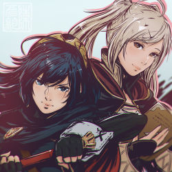 2girls ahoge blue_eyes blue_hair blush book brown_eyes cloak clockwork-cadaver fire_emblem fire_emblem:_kakusei hairband lips long_hair looking_at_viewer lucina multiple_girls my_unit nose open_book portrait silver_hair simple_background smile sword twintails upper_body weapon