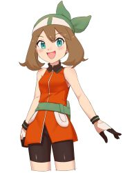 1girl aqua_eyes bag bike_shorts brown_hair gloves haruka_(pokemon) highres multicolored_gloves nyonn24 open_mouth pokemon pokemon_(game) pokemon_rse sleeveless smile solo zipper