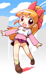 1girl :d akatsutsumi_momoko blush boots casual cloud female full_body hair_ornament hair_ribbon happy high_ponytail hyper_blossom legs loli long_hair no_panties open_mouth orange_hair outdoors pink_eyes ponytail powerpuff_girls powerpuff_girls_z pussy ribbon sakurabe_notosu shirt skirt sky smile socks solo uncensored