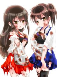 2girls akagi_(kantai_collection) brown_eyes brown_hair burnt_clothes hachimitsu_rateko japanese_clothes kaga_(kantai_collection) kantai_collection long_hair multiple_girls muneate open_mouth scorch_marks short_hair side_ponytail simple_background tears torn_clothes white_background yugake