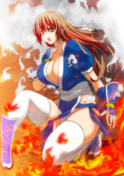 1girl bangs breasts brown_eyes brown_hair choker cleavage dead_or_alive fire full_body japanese_clothes kasumi_(doa) kettsu kneeling large_breasts long_hair ninja open_mouth pelvic_curtain sash smoke solo thighhighs white_legwear wrist_wraps