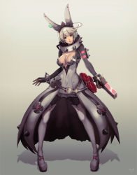 1girl alternate_costume breasts cleavage dress elphelt_valentine full_body guilty_gear guilty_gear_xrd gun hair_bow looking_at_viewer mynare parted_lips rose short_hair solo spiked_collar thigh_boots thighhighs