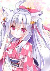 1girl :3 \m/ ahoge animal_ears bell bow esureki fox_ears fox_tail hair_bow hair_ribbon highres japanese_clothes kimono long_hair looking_at_viewer original phantasy_star phantasy_star_online_2 red_eyes ribbon solo tail white_hair yukata