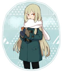 1boy afuro_terumi blush coat inazuma_eleven inazuma_eleven_(series) l_hakase long_hair looking_at_viewer male_focus mittens open_mouth orange_eyes scarf solo very_long_hair winter