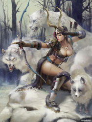 1girl armor armored_boots arrow bare_tree boots bow_(weapon) breasts brown_gloves brown_hair cleavage closed_mouth drawing_bow fur_trim gloves green_eyes holding horns index_finger_raised jewelry kneeling large_breasts lian-oxan_studio long_hair midriff necklace one_knee original outdoors outstretched_arm quiver realistic snow solo tree weapon wolf