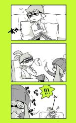 1boy 1girl beanie blush commentary_request couch cushion domino_mask glasses hat inkling mask nana_(raiupika) phone sleeping splatoon taking_picture tentacle_hair