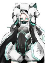 1girl animal_hat aqua_eyes arms_up bodysuit cape cat_hat covered_mouth covered_navel face_mask glowing glowing_eyes hat long_hair mask neon_trim original rekise small_breasts solo very_long_hair white_hair