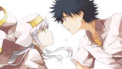1boy 1girl black_hair blue_hair dated green_eyes habit index kamijou_touma long_hair nun robe saiba_(henrietta) spiked_hair to_aru_majutsu_no_index white_hair
