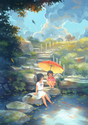 2girls autumn_leaves black_eyes black_hair blouse blue_sky cloud fern flip-flops footwear_removed grass highres kitsu+3 koi long_hair looking_at_another looking_to_the_side moss multiple_girls no_lineart original parasol path pond ribbon road sandals shirt short_hair short_sleeves shorts sitting sky smile soaking_feet squatting stepping_stones striped striped_shirt umbrella white_blouse white_shirt wire_fence