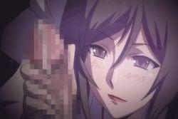 animated animated_gif breasts censored cleavage female handjob huge_breasts yobai_suru_shichinin_no_harame
