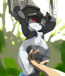 fingering helmet imp midna nyora_(soredemosekai) one_eye_covered red_eyes the_legend_of_zelda twilight_princess