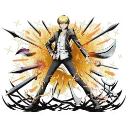 1boy axe black_jacket black_pants blonde_hair collarbone divine_gate dress_shirt fate/stay_night fate_(series) full_body gate_of_babylon gilgamesh hand_on_hip jacket looking_at_viewer official_art open_clothes open_jacket pants polearm rapier red_eyes saber_(weapon) shirt short_hair solo spear standing sword transparent_background ucmm weapon white_shirt