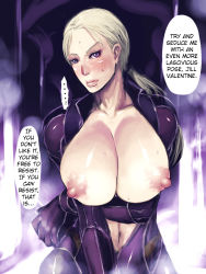 1girl areolae blonde_hair blush bodysuit breasts breasts_outside hard_translated huge_breasts jill_valentine large_areolae ponytail purple_eyes resident_evil resident_evil_5 sawao solo sweat translated