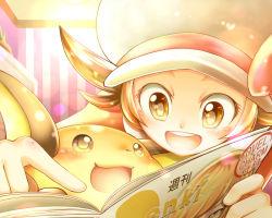 1girl brown_eyes brown_hair cafe_(chuu_no_ouchi) hat hat_ribbon kotone_(pokemon) open_mouth pokemon pokemon_(game) pokemon_hgss raichu ribbon smile twintails