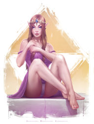 absurdres barefoot blue_eyes breasts dress earrings highres jewelry krystopher_decker legs lips looking_at_viewer nail_polish panties parted_lips pointy_ears princess_zelda purple_dress red_nails sitting smile teeth the_legend_of_zelda tiara toenail_polish underwear