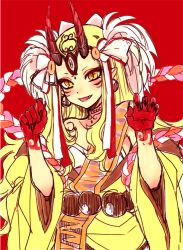 1girl :d bare_shoulders blonde_hair claws earrings fang fate/grand_order fate_(series) hizuki_mai horns ibaraki_douji_(fate/grand_order) japanese_clothes jewelry kimono long_hair open_mouth pointy_ears red_background simple_background slit_pupils smile solo yellow_eyes