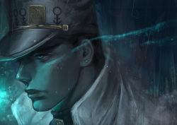 1boy aqua_eyes black_hair earrings face hat jewelry jojo_no_kimyou_na_bouken kuujou_joutarou male_focus rain s_a_k_u solo turtleneck wet