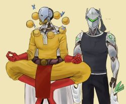 ... 2boys bag butterfly cape commentary cosplay cyborg elliephantes floating genji_(overwatch) genos genos_(cosplay) lotus_position multiple_boys omnic one-punch_man orb overwatch parody robot saitama_(one-punch_man) saitama_(onepunch_man)_(cosplay) shopping_bag tank_top zenyatta_(overwatch)