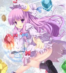 1girl ass blush book boots bow crescent crystal female fujieda_uduki fujieda_uzuki glyph hair_bow hat leg_up long_hair magic magic_circle no_panties open_mouth patchouli_knowledge pointing purple_eyes purple_hair smile solo touhou