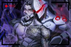 2boys abs age_difference armor bara brothers cum cum_on_body facial family genji_(overwatch) hanzo_(overwatch) incest male_focus mask multiple_boys muscle open_mouth overwatch pecs siblings tattoo yaoi