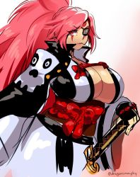 1girl amputee baiken breasts cleavage d-ryuu guilty_gear guilty_gear_xrd hand_on_hilt huge_breasts japanese_clothes katana kimono lips long_hair no_bra obi one-eyed open_clothes open_kimono pink_eyes pink_hair ponytail sash scar scar_across_eye solo straw_(stalk) sword weapon