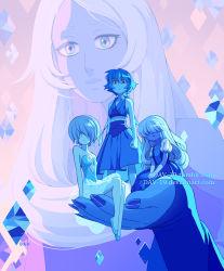 4girls artist_name bare_shoulders blue_diamond_(steven_universe) blue_dress blue_eyes blue_hair blue_pearl_(steven_universe) blue_skin breasts cleavage dav-19 diamond-shaped_pupils diamond_(shape) dress flat_chest gem giantess gloves hair_over_face lapis_lazuli_(steven_universe) looking_at_viewer multiple_girls puffy_short_sleeves puffy_sleeves ribbon sapphire_(steven_universe) short_hair short_sleeves silver_hair sitting sleeveless sleeveless_dress small_breasts spoilers steven_universe symbol-shaped_pupils transparent_skirt watermark web_address white_gloves