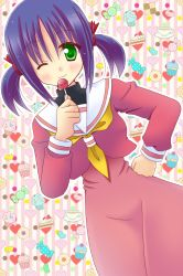 1girl bad_id blush cake candy checkerboard_cookie cookie cup cupcake food fruit green_eyes hair_ribbon hand_on_hip hayate_no_gotoku! heart highres hinata_mirun jelly_bean lollipop nishizawa_ayumu one_eye_closed plate purple_hair ribbon school_uniform serafuku short_hair smile solo strawberry strawberry_shortcake sweets tea teacup twintails wink