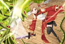 1girl black_legwear brown_hair chest_plate fingerless_gloves gloves highres holding kazenokaze knife open_mouth pleated_skirt red_eyes silica skirt solo_focus sword_art_online tagme thighhighs twintails zettai_ryouiki