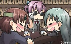 +++ 3girls alcohol aqua_hair bartender blush bottle brown_hair chiyoda_(kantai_collection) choko_(cup) cocktail_glass commentary commentary_request cup dated drinking drinking_glass drunk hair_ornament hairclip hamu_koutarou headband headgear highres kantai_collection long_hair multiple_girls open_mouth pink_hair sake sake_bottle salt_bae_(meme) shaker shiranui_(kantai_collection) short_hair sparkle sunglasses suzuya_(kantai_collection)
