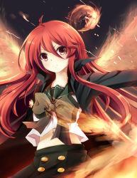 1girl absurdres coat fire highres long_hair navel red_eyes red_hair school_uniform serafuku shakugan_no_shana shana soundsechop
