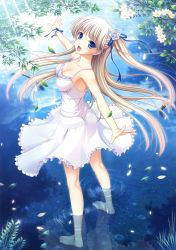 1girl :d absurdres barefoot blonde_hair blue_ribbon breasts collarbone dress floating_hair flower full_body hair_flower hair_ornament hair_ribbon highres komori_kei leaf long_hair looking_at_viewer medium_breasts open_mouth original outdoors outstretched_arm petals ribbon short_dress side_ponytail sleeveless sleeveless_dress smile solo standing sundress very_long_hair wading white_dress white_flower wrist_cuffs