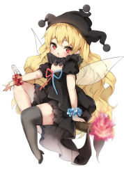 1girl alternate_color black_dress black_legwear black_shoes blonde_hair clownpiece commentary_request dress fairy_wings fire full_body hat high_heels jester_cap long_hair looking_at_viewer neck_ruff piyokichi red_eyes shoes simple_background single_thighhigh solo thighhighs torch touhou very_long_hair wavy_hair white_background wings wrist_cuffs