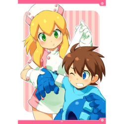 1boy 1girl arm_up bandaged_arm blonde_hair blush brown_hair capcom furrowed_eyebrows gloves green_eyes hat headwear_removed helmet helmet_removed injury inou_shin nurse_cap one_eye_closed outline rockman rockman_(character) rockman_(classic) roll short_sleeves sidelocks wince