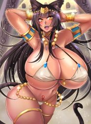 1girl animal_ears armpits arms_behind_head arms_up black_hair blush breasts cameltoe cat_ears cat_tail cleavage curvy egyptian erect_nipples fangs gigantic_breasts long_hair looking_at_viewer megane_man micro_bikini navel open_mouth smile solo standing swimsuit tail thick_thighs venus_symbol wide_hips yellow_eyes