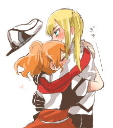 2girls aquila_(kantai_collection) blue_eyes blush eyes_closed graf_zeppelin_(kantai_collection) hat hat_removed headwear_removed heart high_ponytail hug kantai_collection multiple_girls rebecca_(keinelove) twintails yuri