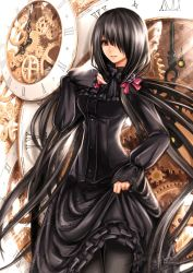 1girl black_dress breasts clock date_a_live dress flower gothic hair_ornament hair_over_one_eye lolita_fashion long_hair long_skirt long_sleeves medium_breasts open_mouth pantyhose puffy_sleeves purple_rose ribbon rose skirt solo standing thighs tokisaki_kurumi twintails very_long_hair