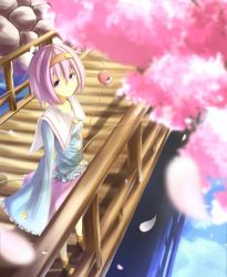 1girl bridge cherry_blossoms komeiji_satori petals pink_eyes pink_hair solo third_eye touhou waterdog