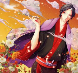 1boy black_hair blue_eyes closed_mouth cloud collarbone eyeshadow floral_print flower haori holding holding_pipe hoozuki_(hoozuki_no_reitetsu) hoozuki_no_reitetsu horn japanese_clothes leaf long_sleeves looking_away makeup male_focus orange_flower petals pipe pixiv_id_3258412 pointy_ears red_flower short_hair sky smoking solo sparkle white_flower wide_sleeves yellow_flower