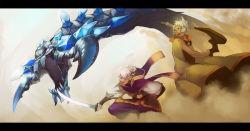 cloak earrings highres jewelry monster pixiv_fantasia pixiv_fantasia_4 profile purple_eyes staff sword weapon yellow_eyes yuzu_shio